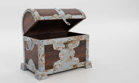 Rusty old treasure box or wooden treasure chest. Isolated on white background and wallpaper. 3D Render.