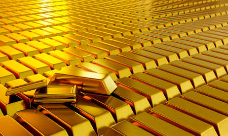 Lots of gold bars are arranged and arranged in a row. Conveys business lines and gold or stock markets and luxury. 3D Rendering. Stock Photo