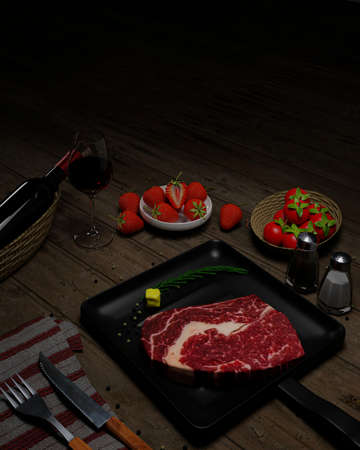 Fresh beef for steaks With olive oil on top Place on a Teflon pan. Seasoning of white pepper and black pepper, decorated with cherry tomatoes. Black Marble Table There is a knife and fork.3D Rendering