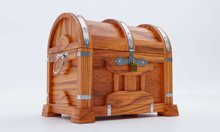 New antique treasure chest, made of teak, reinforced with metal plates and pins, locked with a golden padlock. White floor and background.3D Rendering
