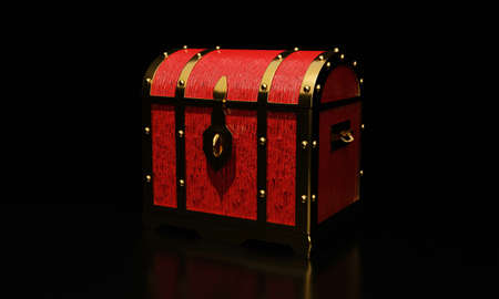 Gold retro antique treasure or treasure chest. Luxuriously expensive chest for holding gold valuables. 3D Rendering.