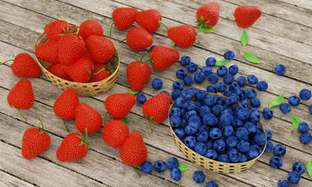 Fresh strawberries and blueberries in bamboo basket. Berries placed on wooden table surface. Berry-type fruit. Fresh berries in basket for eating fresh or making snacks and beverages. 3D Rendering.
