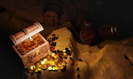 Golden Coins and vintage treasure chest made of wooden panels Reinforced with gold metal and gold pins Treasure boxes placed on the sand in a cave or treasure chest underwater. 3d Rendering