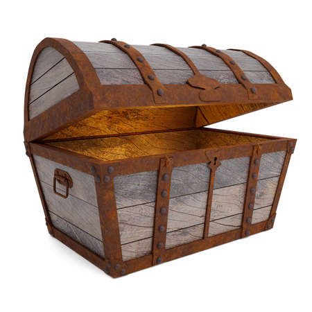 Old and broken vintage pirate treasure chest. Rotten and broken. For storing valuables Made of cracked wood And rusted metal texture Isolated on white background and wallpaper.3D Rendering.