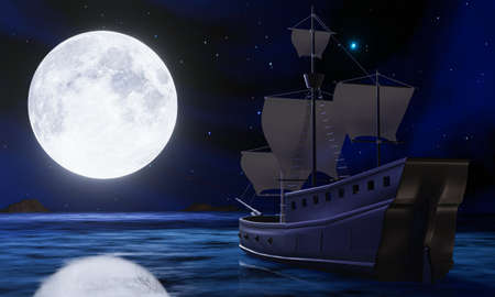 pirate ships find a treasure chest on the sea or ocean On the night of the full moon. silhouette or shadow of a sailboat reflecting the water surface at night with stars in the sky. 3D rendering