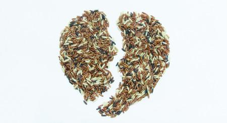 Rice Berry seed Heart broken Stock Photo