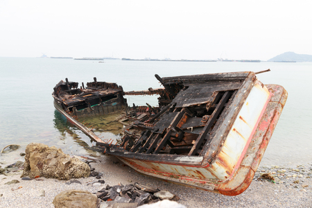 Wreck fishing boat after fire