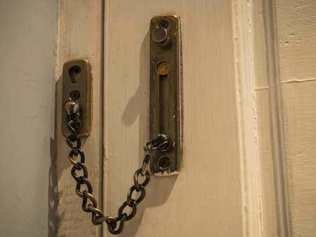 hasp: Door lock, chain hasp of the hotel Stock Photo