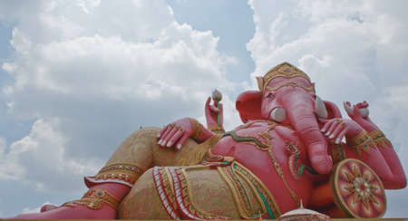 pink ganesh in blue sky photo