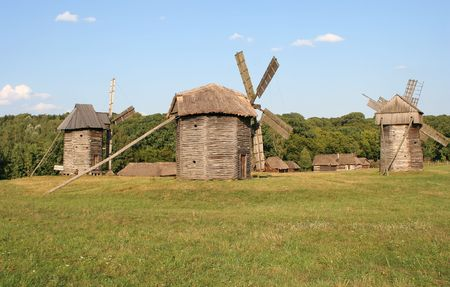 Mills in the village photo