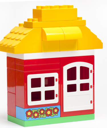 The house construction by colorful blocks photo