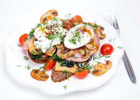 poached: Sandwich with poached eggs Stock Photo