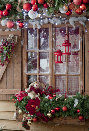 winter wood: Happy New Year and Merry Christmas interior scene with frost window