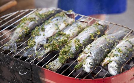 salmo trutta: Fried barbecue grill fresh fish trout