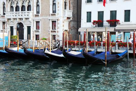 Gondolas on Grand Canal, Venice, Italy. Retro style
