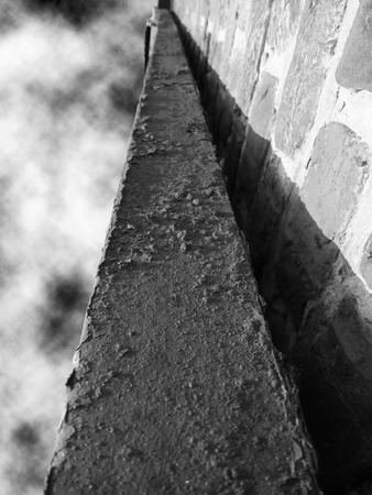 Rusty Old Gutter In Black And White