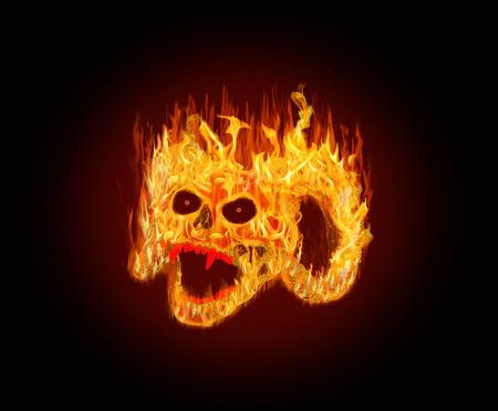 Flaming czaszka kozy Zdjęcie Seryjne