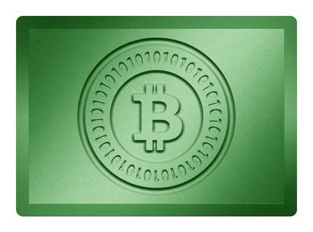Zielony Metallic Bitcoin Plate Zdjęcie Seryjne