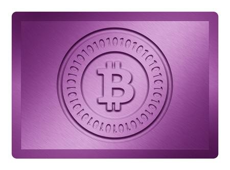 Purple Metallic Bitcoin Plate Zdjęcie Seryjne