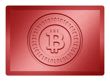 red metallic: Red Metallic Bitcoin Plate