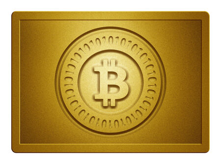 Gold Bitcoin Plate Zdjęcie Seryjne
