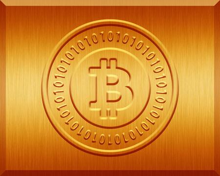 Orange Metallic Bitcoin Plate Zdjęcie Seryjne