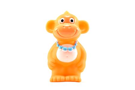 cuddly baby: Monkey toy on white background Stock Photo