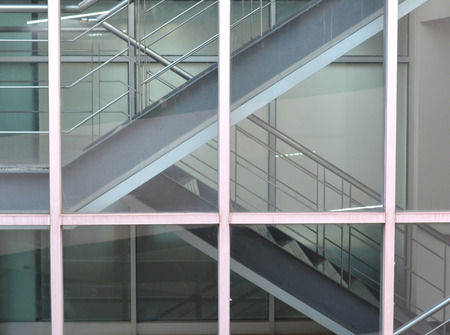 glass partition: Stair building in glass partition Stock Photo
