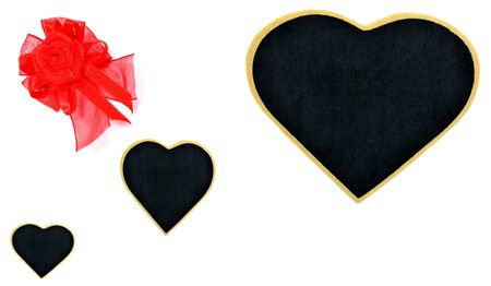 dark backgrounds: Three Black heart more and more with red bow - Valentines Day