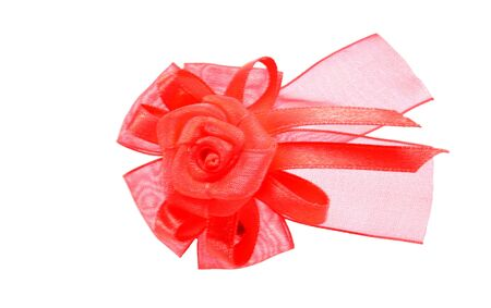 valentine s: Rose bow - Red bow valentine s day on the white background Stock Photo