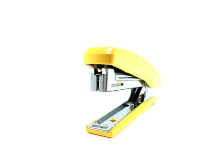 Green Stapler (front view) on white background Stock Photo
