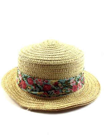 girdle: Pretty straw hat  with girdle on white background