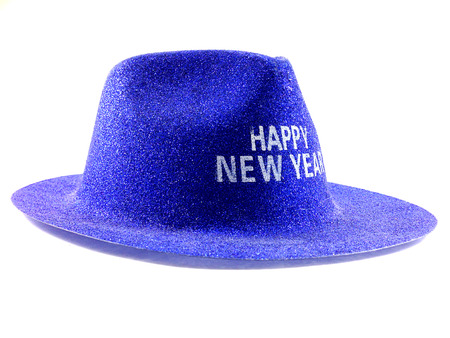 prety: Side of prety hat with wording HAPPY NEW YEAR on white background.