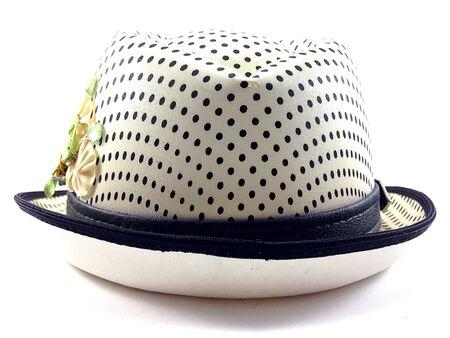 girdle: Back of prety hat with girdle on white background. Stock Photo