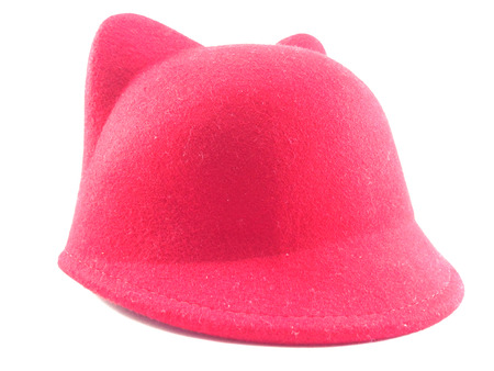 beanie: in front of red hat have two ears on white background. Stock Photo
