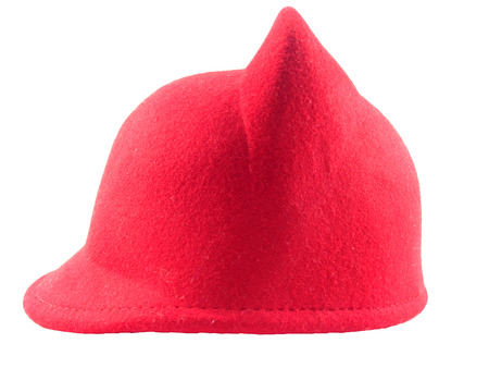 beanie: side of red hat have two ears on white background.