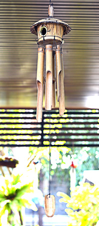 wind chime: Bamboo mobile in the garden