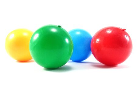 rubber ball: Colour Ball - plastic color balls- kids colorful rubber ball on white background Stock Photo
