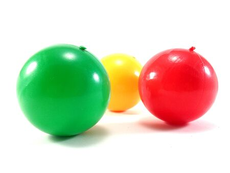 color balls: Colour Ball - plastic color balls- kids colorful rubber ball on white background Stock Photo
