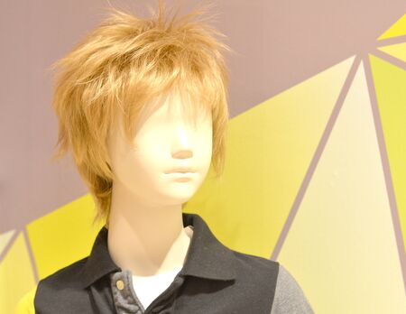 male mannequin: Asian Male Mannequin Head on color background Stock Photo