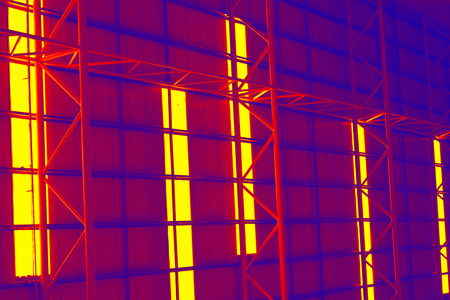 abstracts: Metal abstracts of roof on red color background Stock Photo