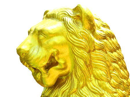 formidable: Facing side golden lion of statue is formidable on white background