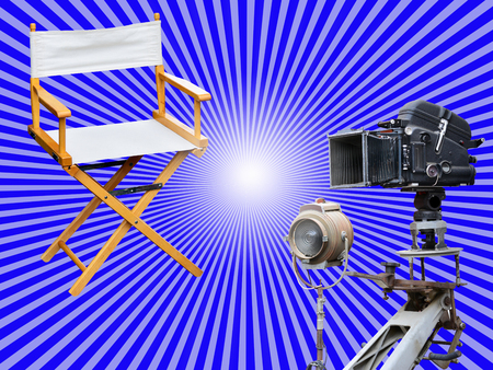 filmmaker: Film director chair or movie film industry of concept on light color background