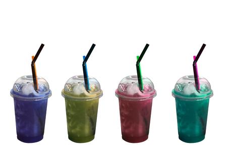slushy: Colorful slushy ice drinks in plastic cups on isolated white background