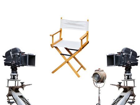 filmmaker: Film director chair or movie film industry of concept on isolated white background