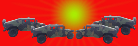 Four Military off-road car on red color background with horizantal style and sun light Stock Photo