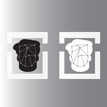 head protection: Face detection recognition of concept design with simple illustrator design - Face detection technology Illustration