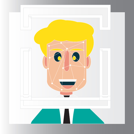 Face detection recognition of concept design with simple illustrator design - Face detection technology Ilustrace