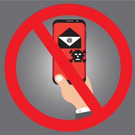 A SmartPhone and Envelopes or No open Malware Infection by E-mail or Virus Ransomware attack mobile phone with IT Security of Concept vector design