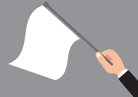 Business hand holding the white flag - Surrender or lose of concept design with simple vector Illustration